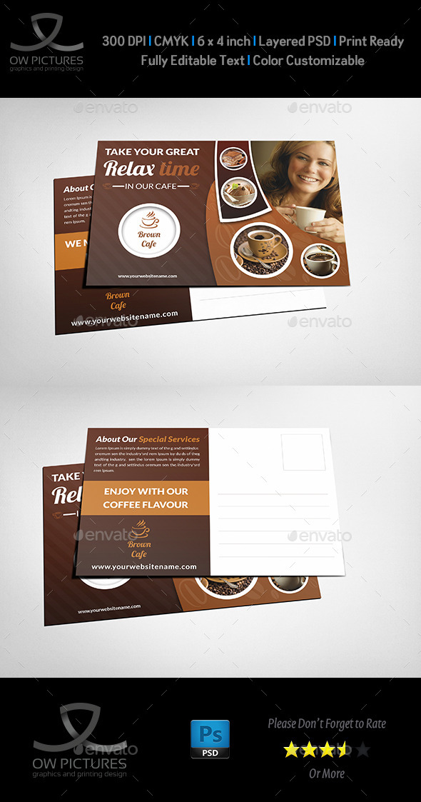 Cafe Postcard Template - Cards & Invites Print Templates