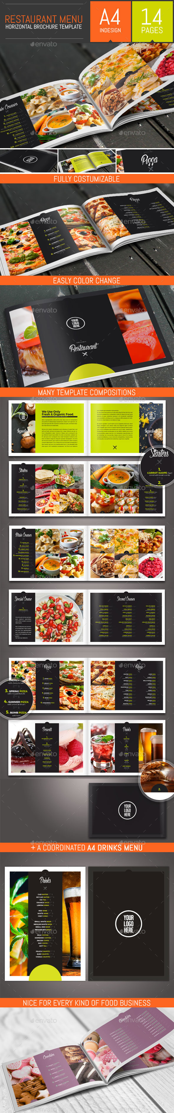 Food Restaurant Menu Brochure / Bi-Fold Template - Food Menus Print Templates