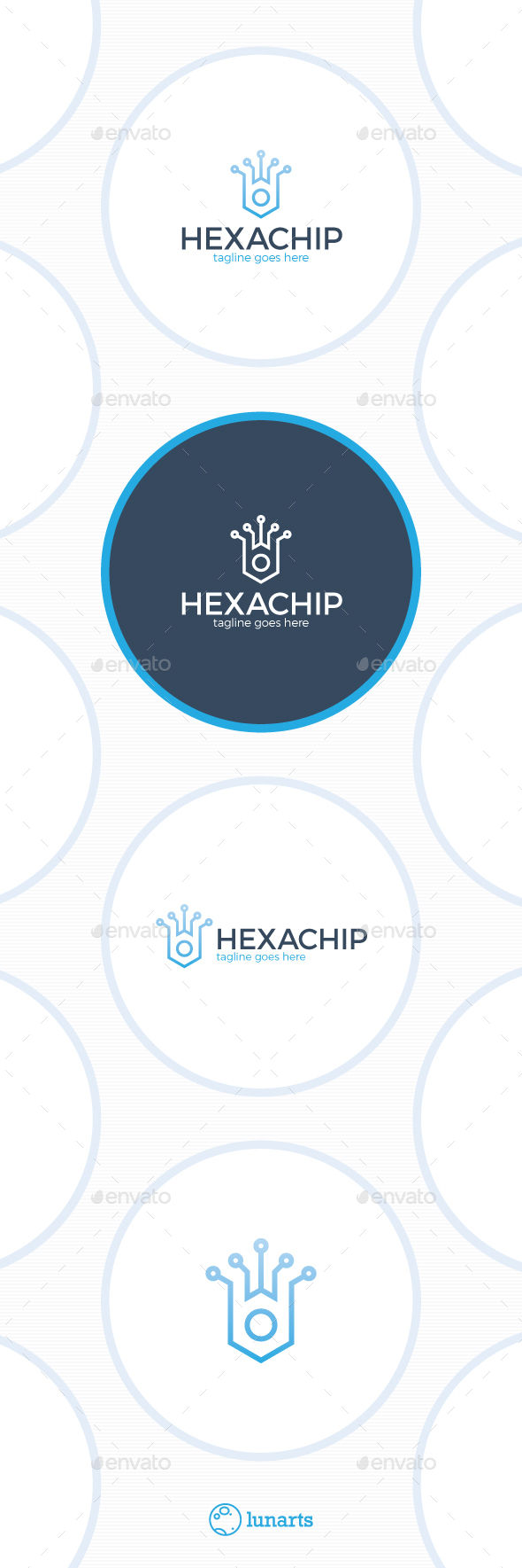 Hex Chip Logo - Tech Crown - Abstract Logo Templates