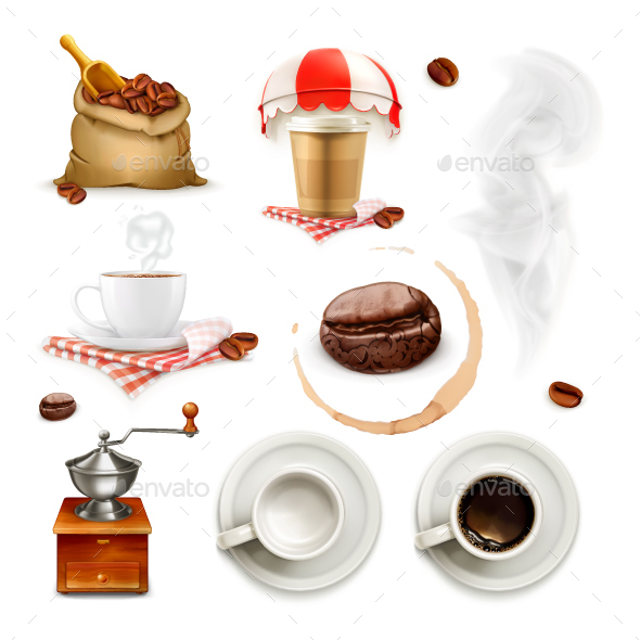 Coffee Icons and Elements - Food Objects