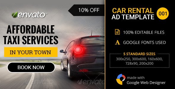 Car Rental Service Banner 001 By Themesloud Codecanyon