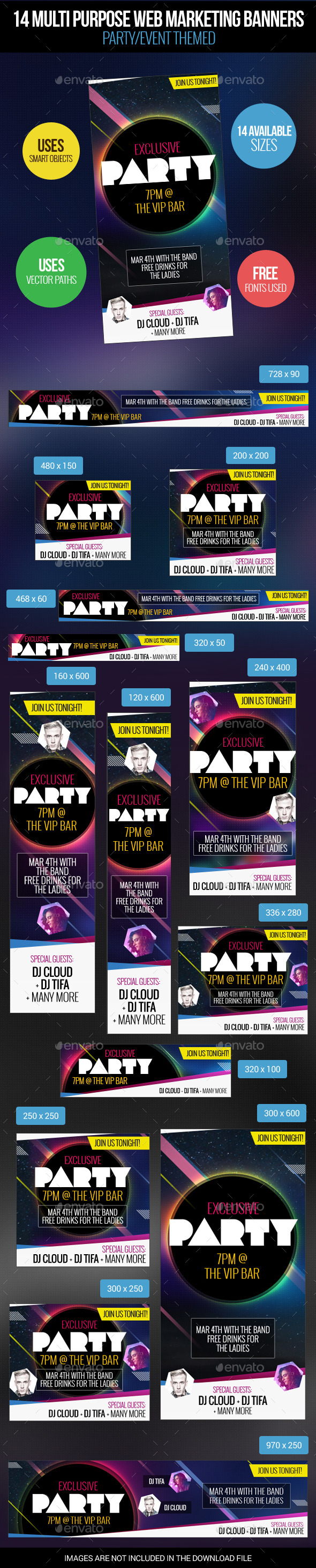 14 Party Themed Web Marketing Banners - Banners & Ads Web Elements
