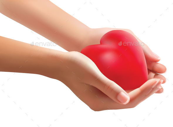 Hands Holding a Heart - Valentines Seasons/Holidays