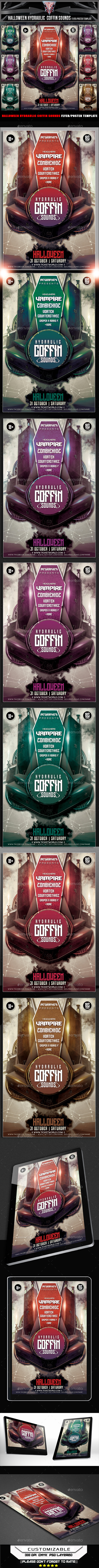 Halloween Hydraulic Coffin Sounds Flyer Template - Flyers Print Templates