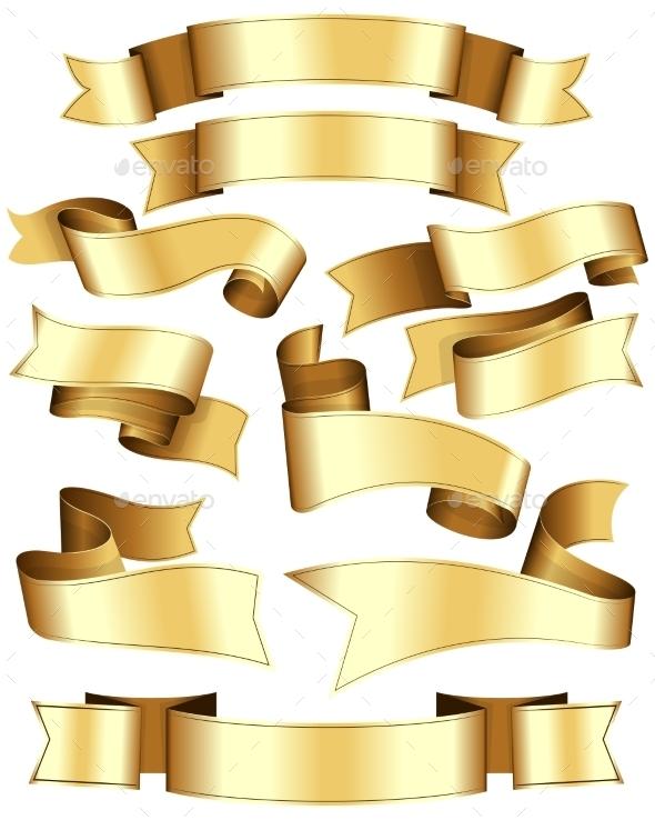 Gold Ribbon Set - Web Elements Vectors