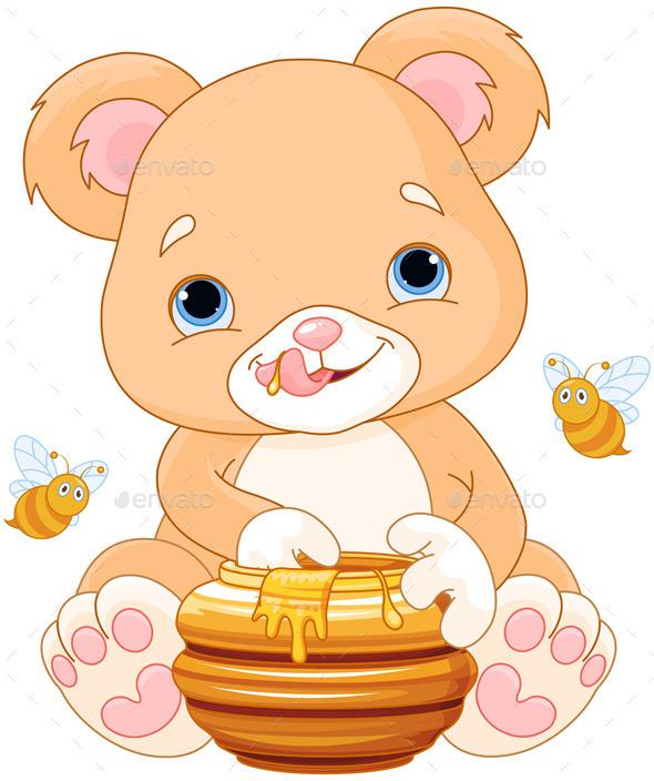 Bear Holds Honey Jar - Animals Characters