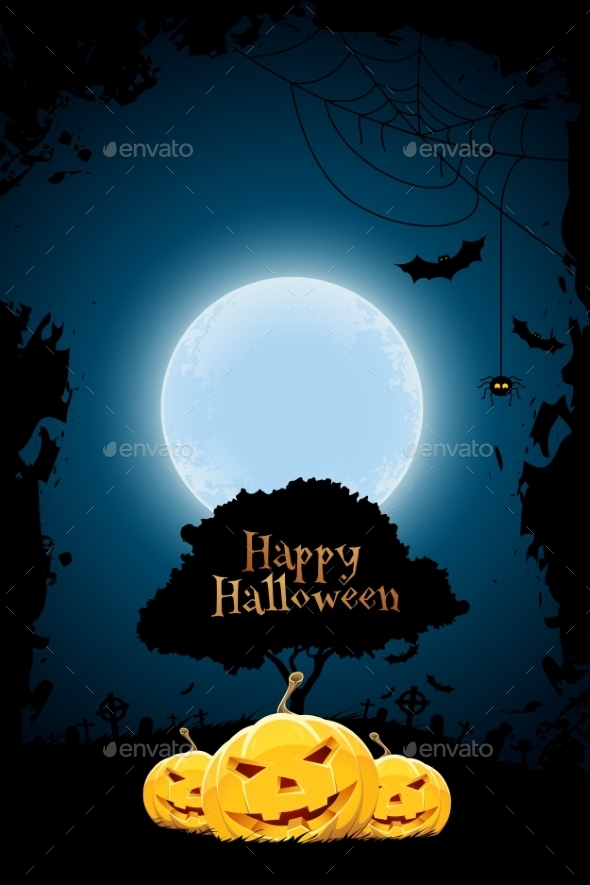 Halloween Background with Pumpkin and Tree - Halloween Seasons/Holidays