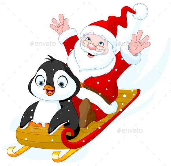 Santa Claus and Penguin - Christmas Seasons/Holidays