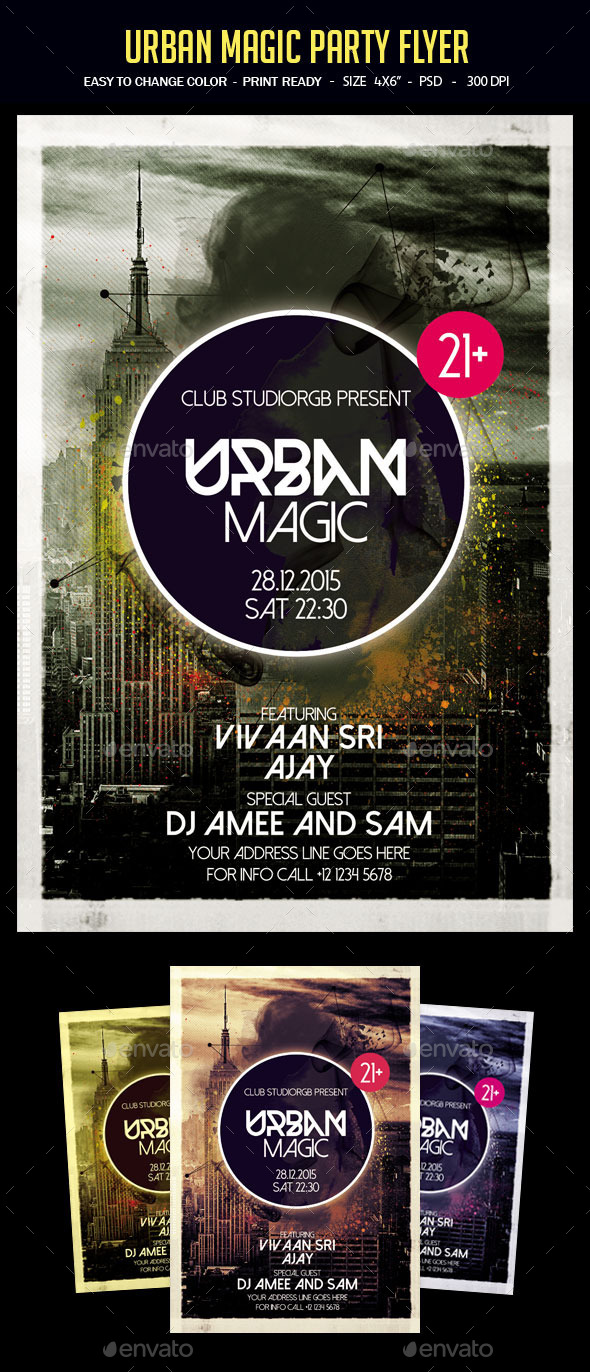 Urban Magic Flyer Template - Clubs & Parties Events