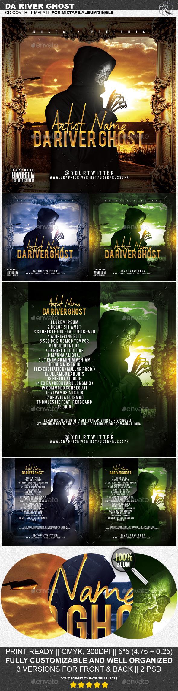 Da River Ghost PSD CD Mixtape Cover Template - CD & DVD Artwork Print Templates