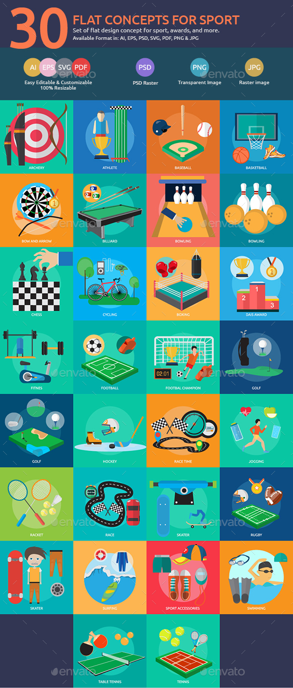 Flat Concepts for Sport & Awards - Sports/Activity Conceptual