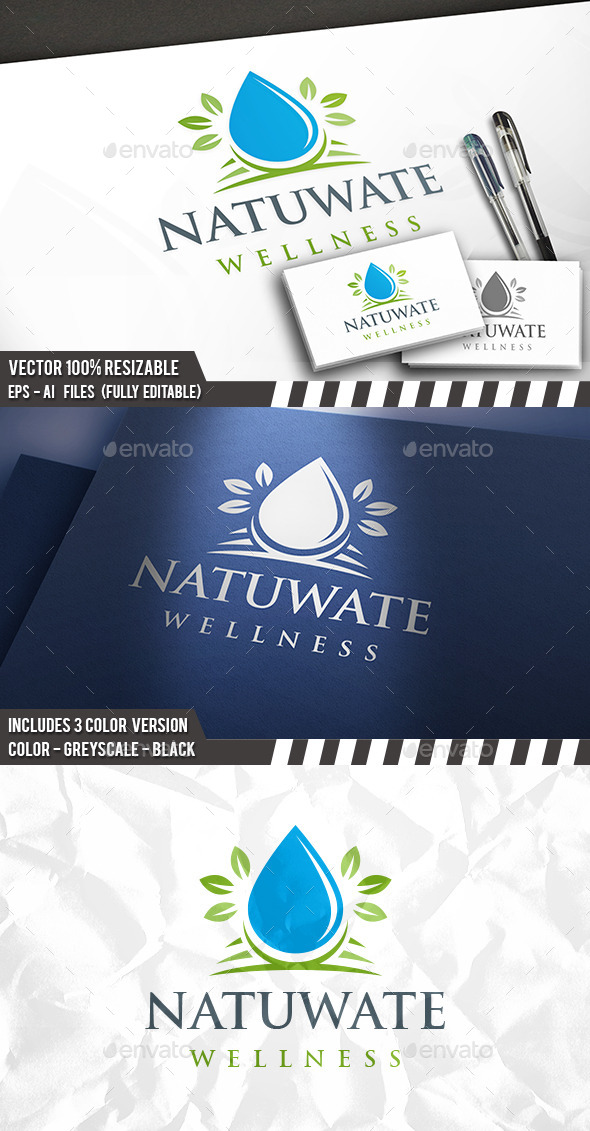 Healthy Water Logo - Nature Logo Templates
