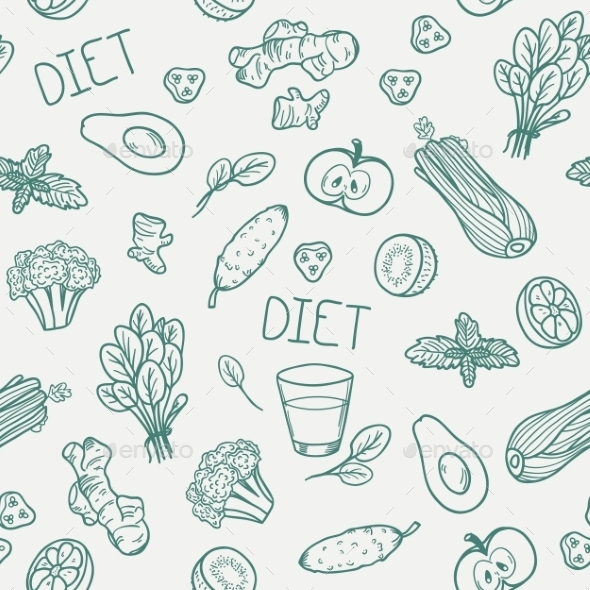 Vegetables Seamless Pattern. Healthy Eating - Patterns Decorative