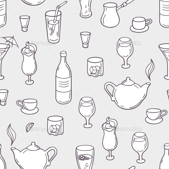 Seamless Pattern With Stylized Doodle Drinks - Patterns Decorative