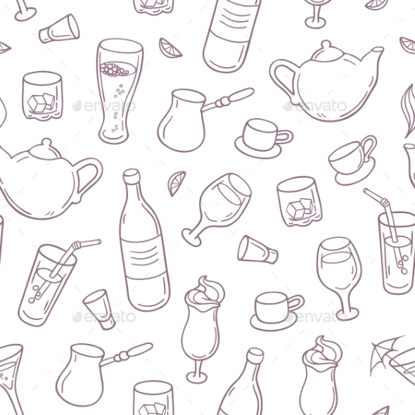 Seamless Pattern With Outline Style Drinks - Patterns Decorative