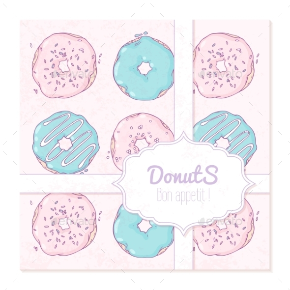 Food Delivery Box Design With Hand Drawn Donuts - Food Objects