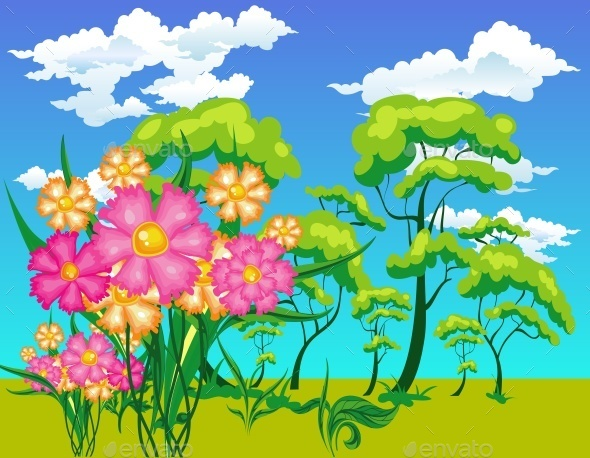 Landscape with Trees and Flowers - Landscapes Nature