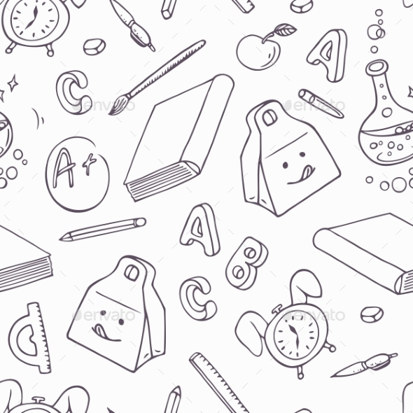 Back To School Doodle Objects - Patterns Decorative