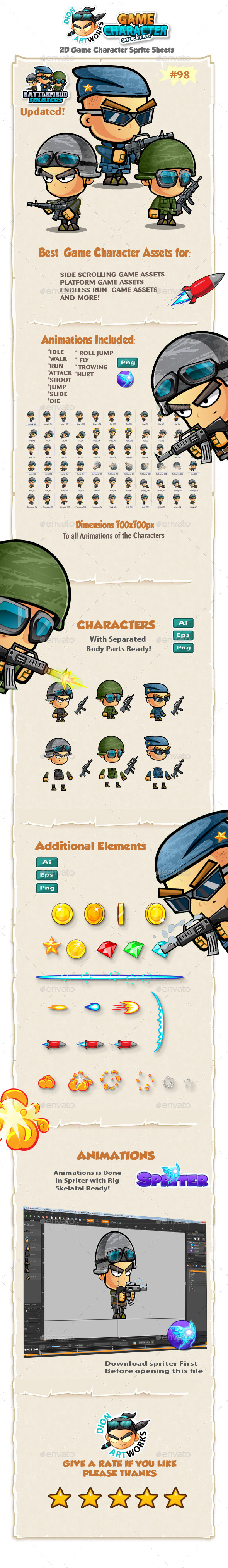 Soldiers 2D Game Character Sprites 98 - Sprites Game Assets