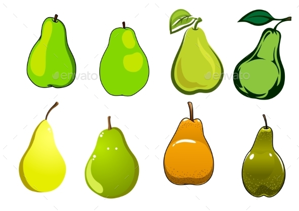 Green, Yellow And Orange Pear Fruits - Food Objects