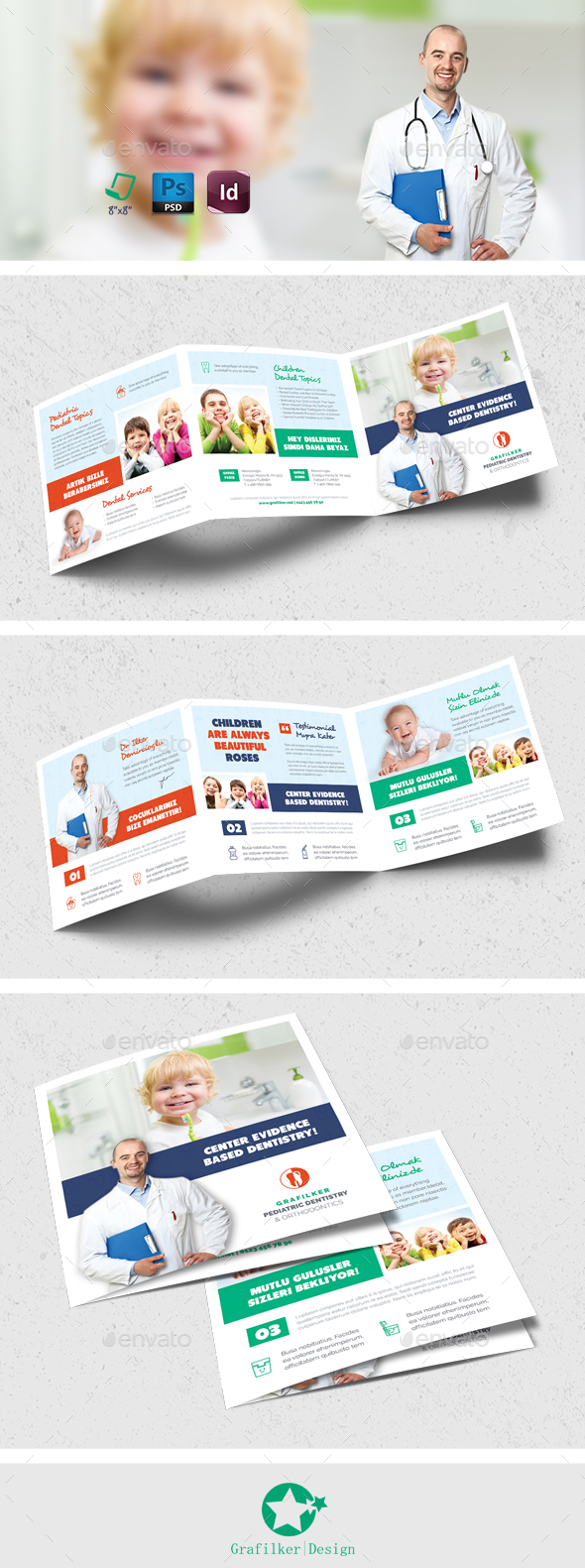 Kids Dental Square Brochure Templates - Brochures Print Templates