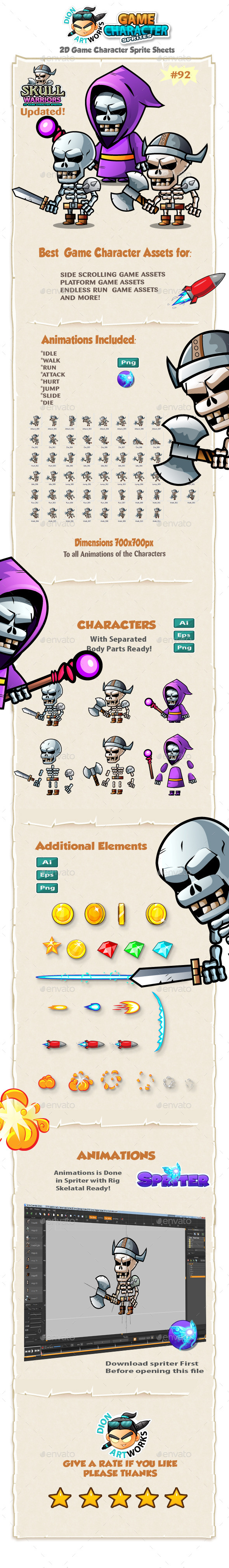 Skull Warriors 2D Game Character Sprites 92 - Sprites Game Assets
