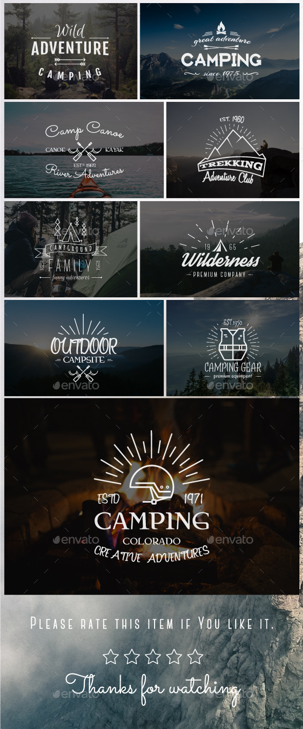 Outdoor Vintage Badges & Logos Set - Badges & Stickers Web Elements