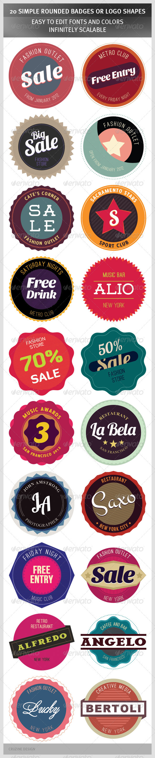 20 Simple Rounded Badges or Logo Shapes - Badges & Stickers Web Elements
