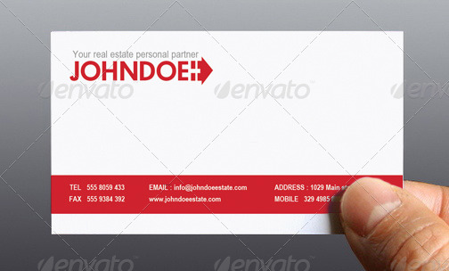 john doe real estate personal business card by elegant creative