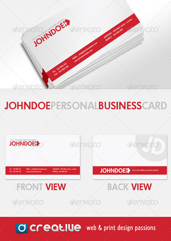 John Doe - Real Estate personal Business Card - Industry Specific Business Cards