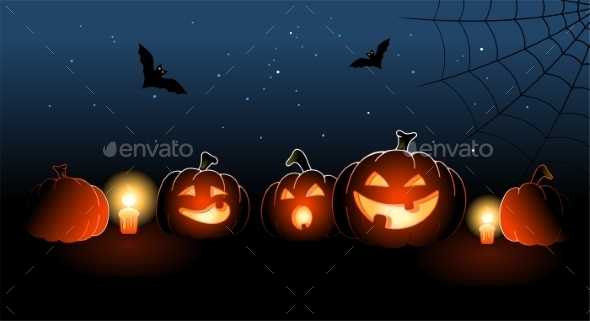 Halloween Pumpkins With Candles - Halloween Seasons/Holidays