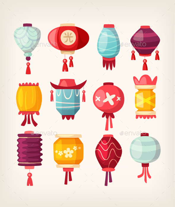 Chinese Paper Hanging Lanterns - Decorative Vectors