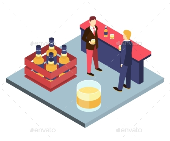 Men In Suits At The Bar Sterilizing Isometric 3D - People Characters
