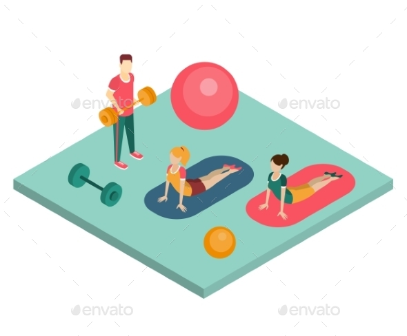 Isometric Gym Workout Flat Vector Illustration. - Sports/Activity Conceptual