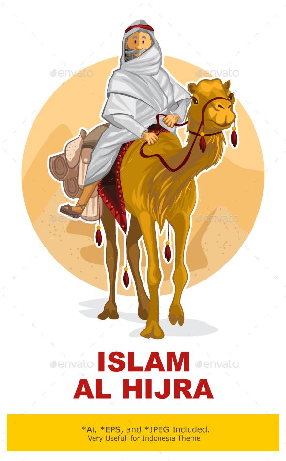 Arabian Bedouin Riding A Camel, Al Hijra Islamic - Travel Conceptual