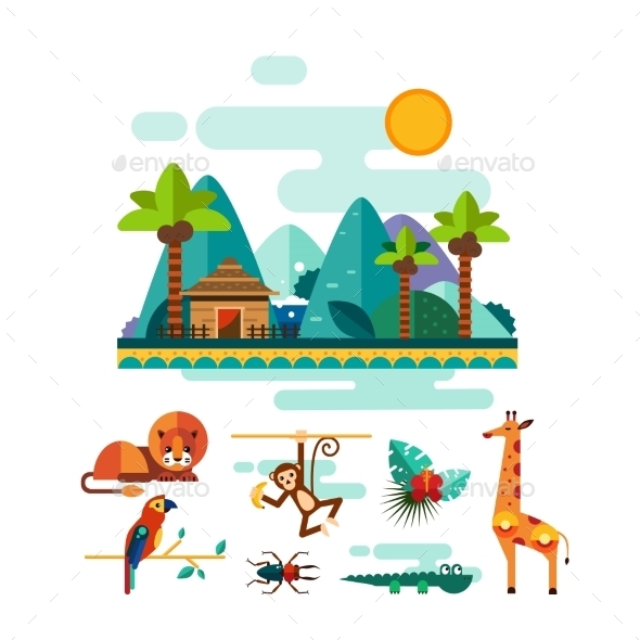 Tropic Animals, Insects And Birds On Jungle - Animals Characters