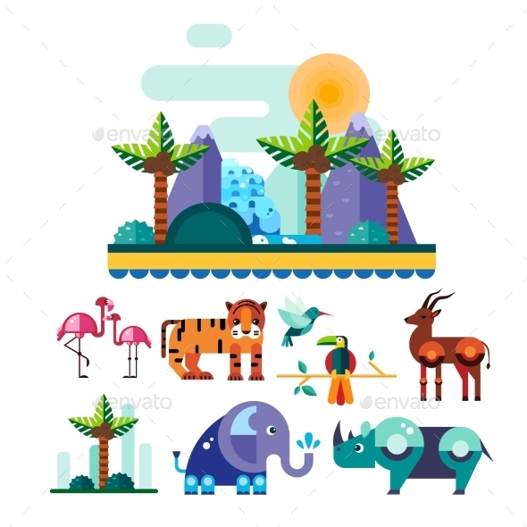 Jungle And Tropic Animals, Birds Vector - Animals Characters