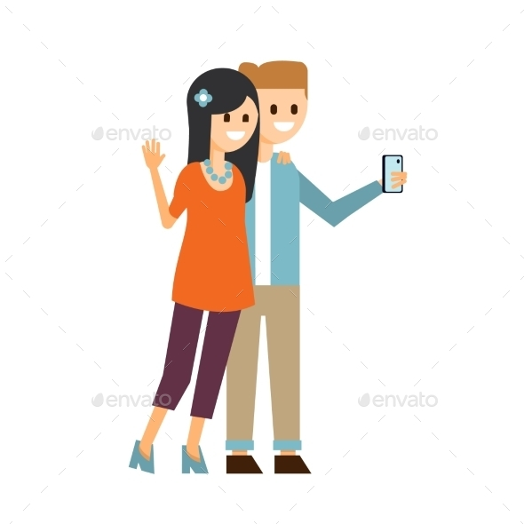 Boy And Girl Making a Selfie Vector Illustration  - Web Technology