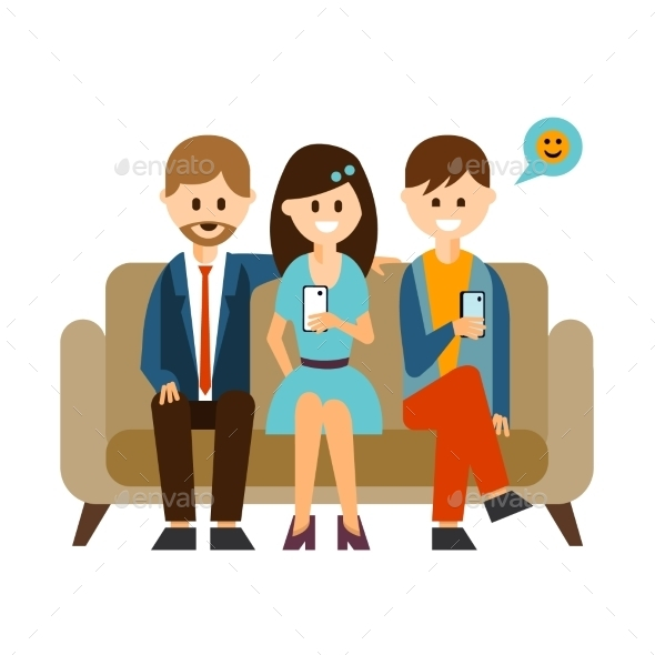 Young People Communicating In Social Media Vector - Web Technology