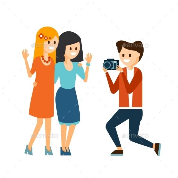 Girls Taking Photo Vector Illustration - Web Technology