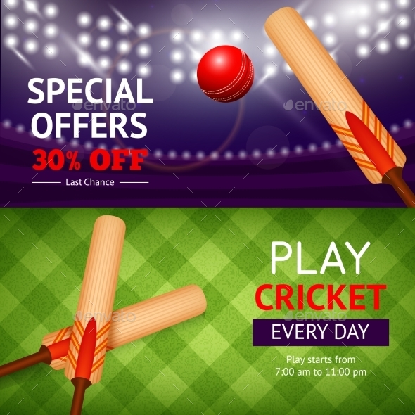 Cricket Banner Set - Sports/Activity Conceptual