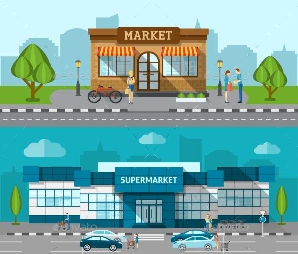 Shop Flat Banner Set - Buildings Objects