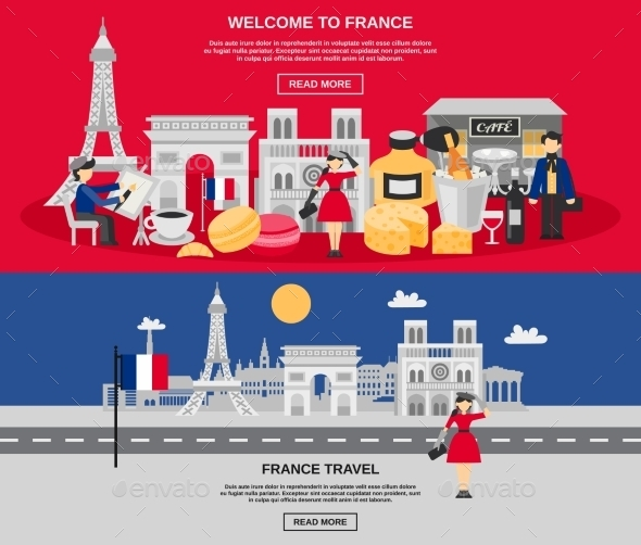 France Banner Set - Travel Conceptual