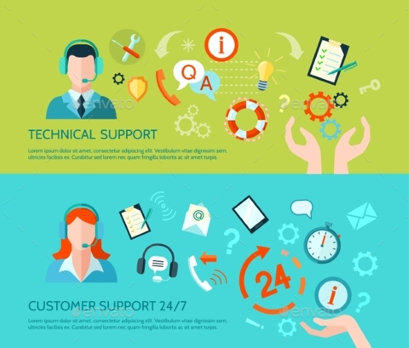 Technical Assistance And Support Banners - Miscellaneous Vectors