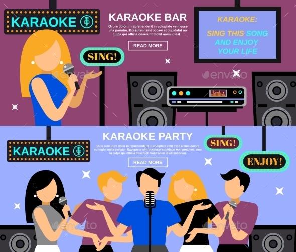 Karaoke Banner Set - People Characters