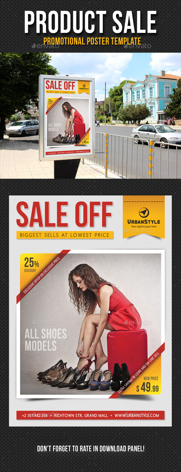 Product Sale Promotion Poster Template V01 - Signage Print Templates