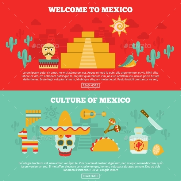 Mexican Banners Set - Travel Conceptual