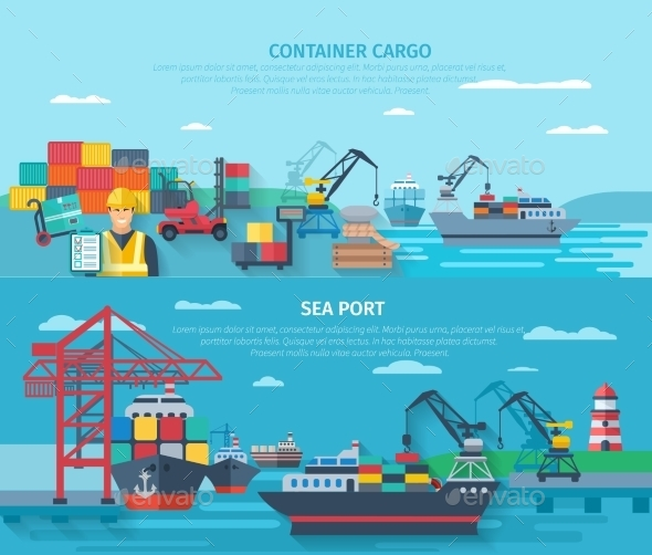 Sea Port Horizontal Banner Set - Miscellaneous Vectors