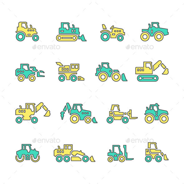 Set Line Icons of Tractors - Man-made objects Objects