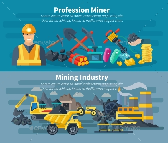 Mining Banner Set - Decorative Vectors